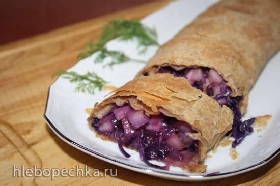 Штрудель с краснокочанной капустой и грушами (Rotkraut-Birnen-Strudel)