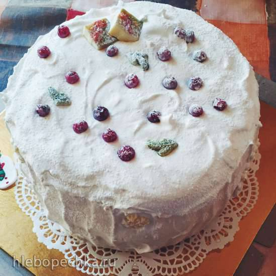 Торт «Бисквит апельсиновый с творожным кремом и фруктами»