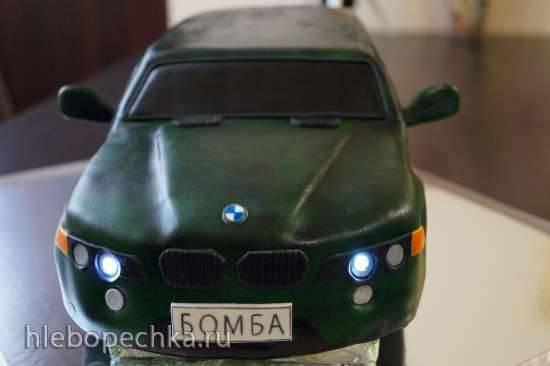 Торт Автомобиль (как сделать светящиеся фары)