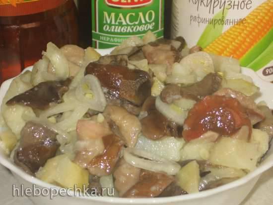 Салат с картошкой и солёными грибочками (постный)