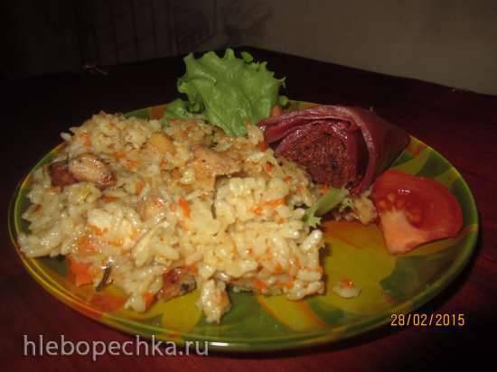 Рис с молодой телятиной из куриной грудки в мультиварке Oursson MP5005