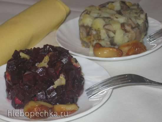 Салат из овощей с печёным чесноком (4 варианта)