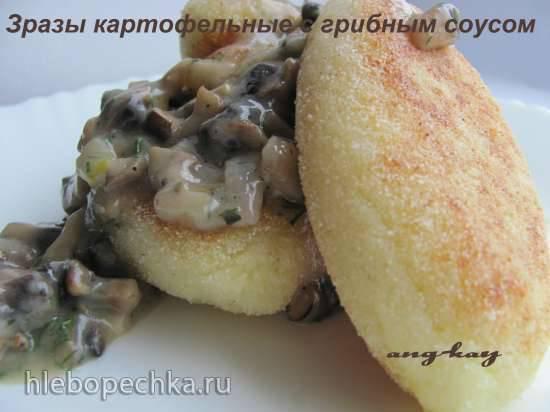 Зразы картофельные с грибным соусом