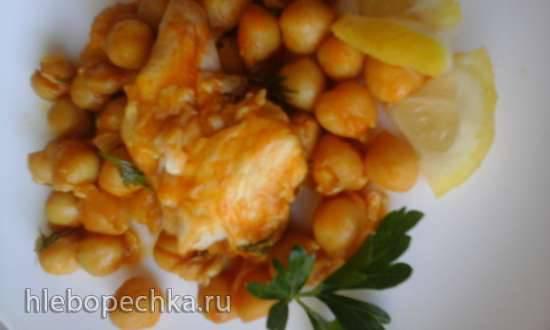 Два блюда из пряного нута: салат и рыба в нутовом соусе