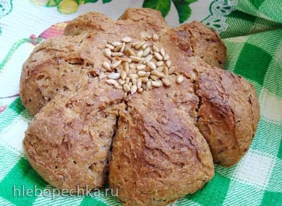 Пшеничный хлеб на ржано-льняной закваске, с отрубями и семенем льна