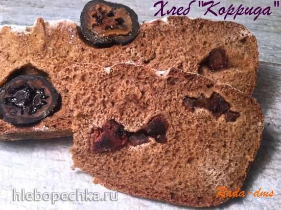 Хлеб Коррида (пшенично-ржаный с зелеными грецкими орехами и вяленой хурмой)
