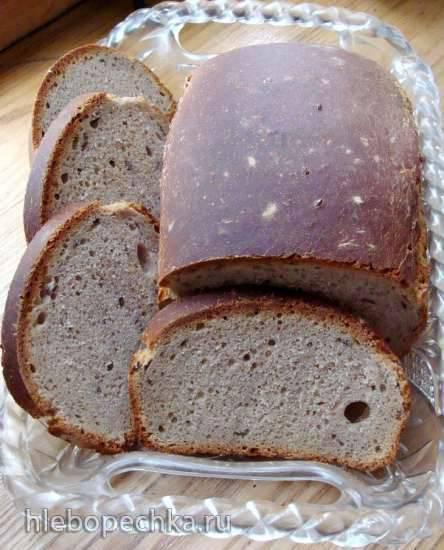 Пшеничный хлеб на ржаной закваске с льняным семенем, отрубями