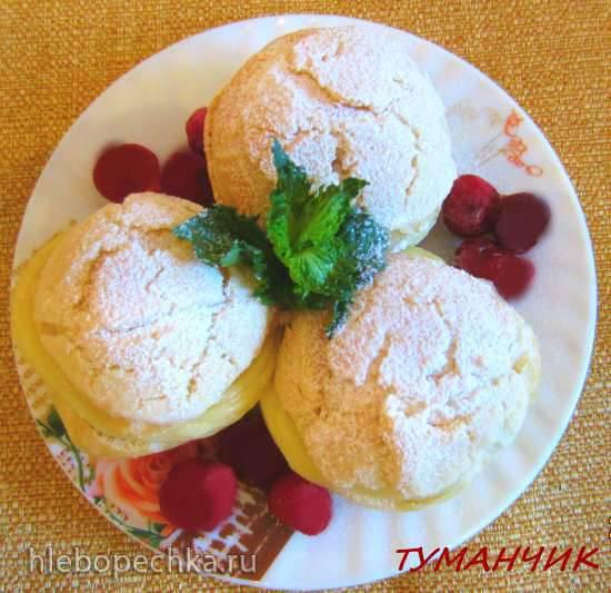 Ягодный десерт с заварным кремом Пирожные шу с заварным и ягодным кремом