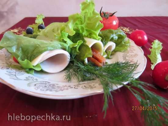 Рулетики из салатных листьев