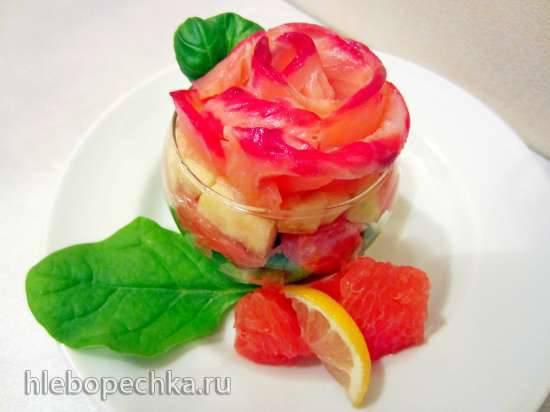 """Закуска из семги и грейпфрута с овощами """"Свежая роза"""""""