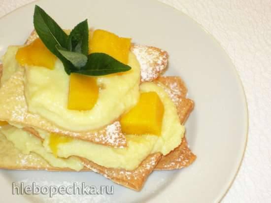Мильфёй с манго и лимонным творожком