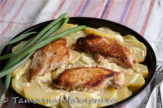 Картофель с куриным филе в двойной сковороде Jardeko