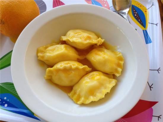 Вареники с творогом в сливочном/апельсиновом соусе
