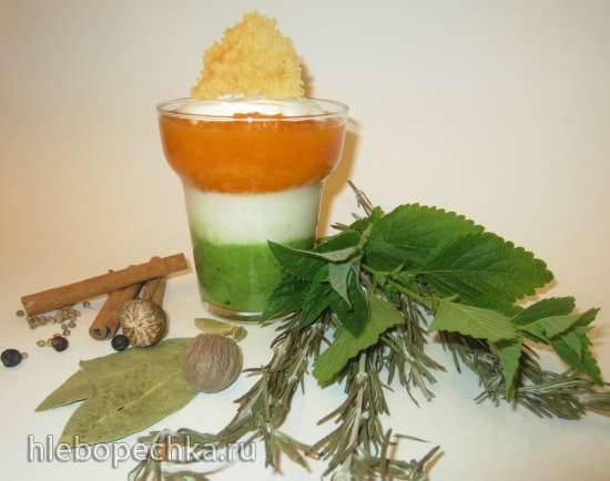 """Суп-крем """"Аромат разноцветный"""" с мороженым и сырными чипсами. Травы и овощи"""