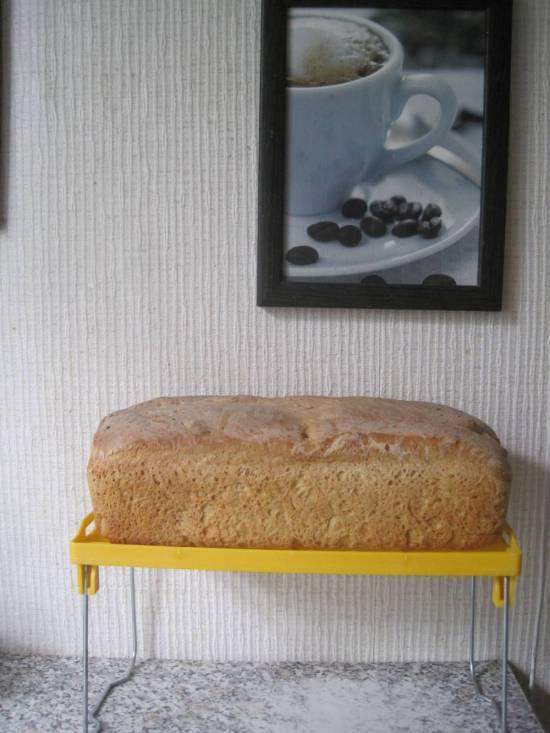 Белый хлеб с овсяной мукой и семечками тыквы в духовке (холодная ферментация)