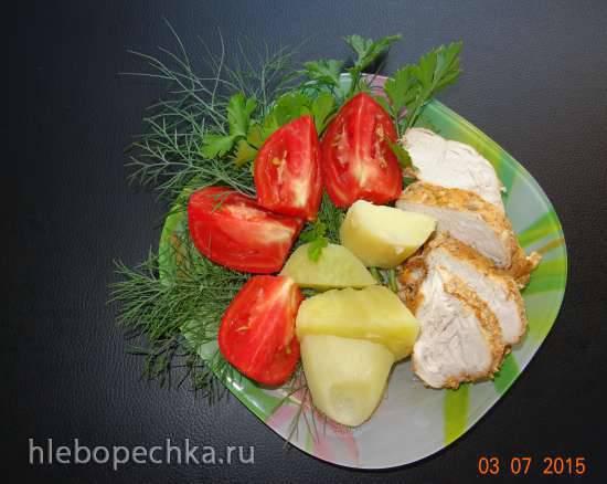 Картофель отварной на гарнир к курице, томлённой в молоке