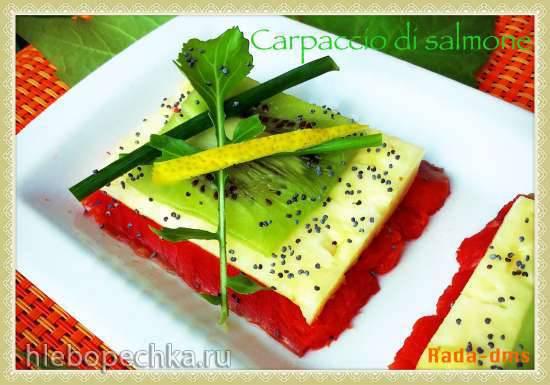 Карпаччо из лосося, свежего ананаса и киви