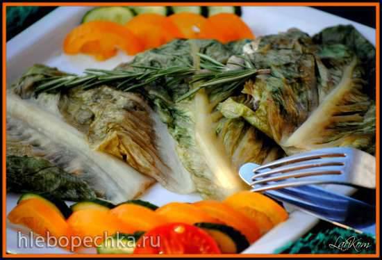 Конвертики из салата с шампиньонами и куриным филе