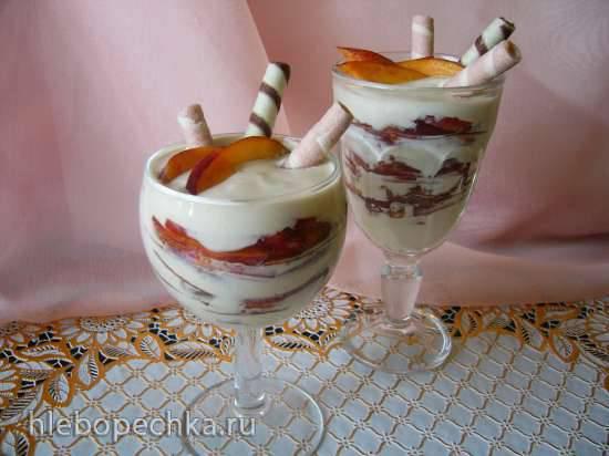 Кофейный творожок с персиками