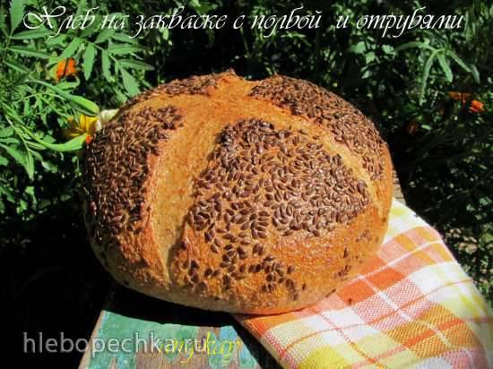 Хлеб на закваске с полбой и отрубями