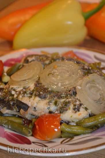 Треска с овощами по-провански