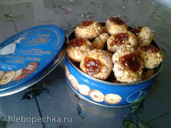 Печенье Пухлики орехово-лимонные с джемом
