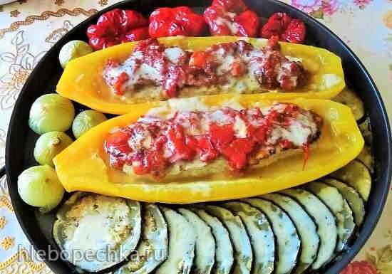 Фаршированный кабачок с мясом и овощами в Пиццамейкере Princess 115000