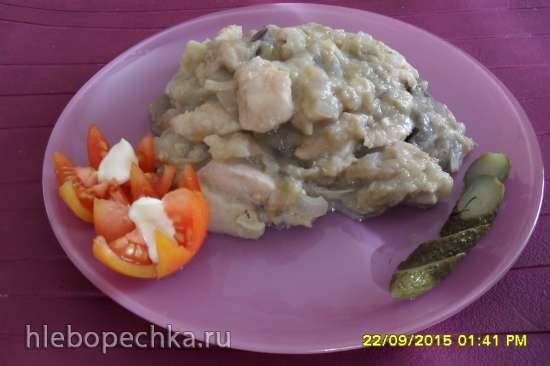 Куриная грудка с баклажанами и грибами,томлёная в сливках