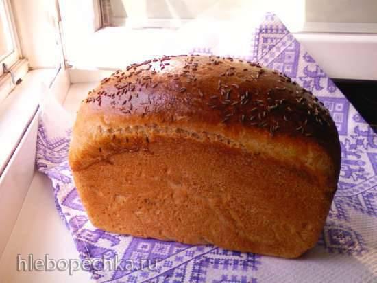 Пшенично-ржаной серый хлебушек на жидких дрожжах (духовка)