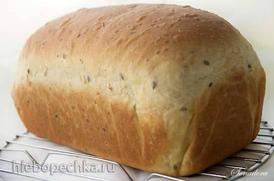 Пшеничный мультизерновой хлеб с тыквой на старом тесте