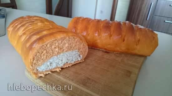 Пирог с мясом и рисом на томатном дрожжевом тесте