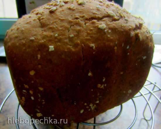 "Хлеб из смеси хлопьев на старом тесте и капустном рассоле (хлебопечка без режима ""Выпечка"")"