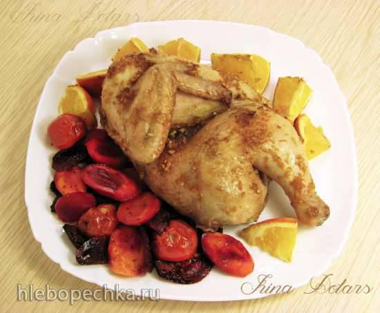 Цыплёнок с апельсином и овощами