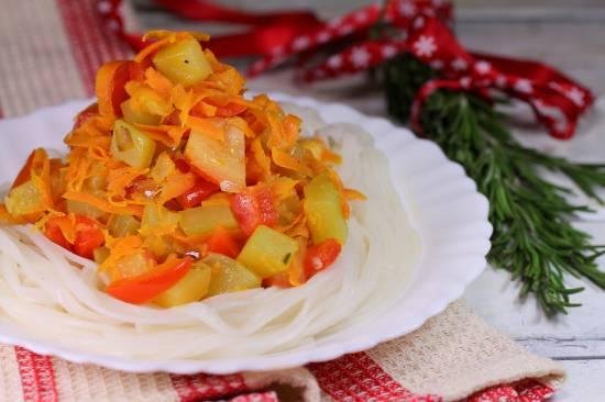 Салат из рисовой лапши с овощами Рисовая лапша с овощами