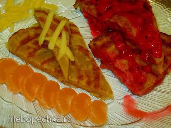 Тесто на французской горчице и меду  для лепешек с разными начинками (газовый а-ля пиццамейкер)