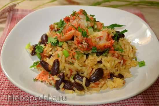Тажин: рис с красной фасолью, и отварной треской