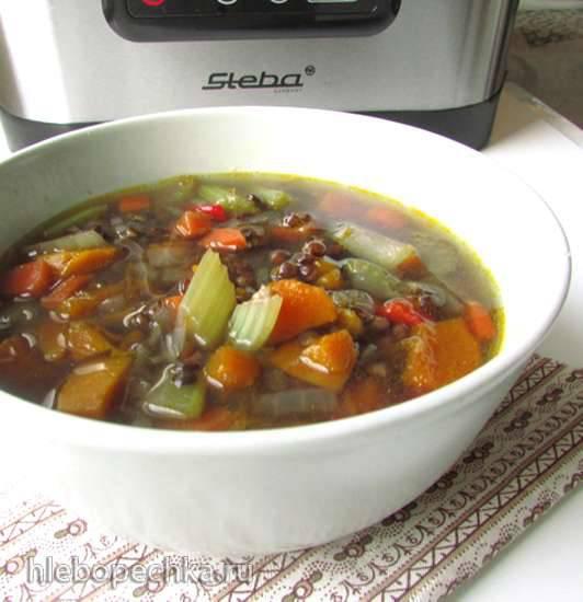 Суп по болгарским мотивам с чечевицей, копченостями и чесноком. Скороварка-коптильня Brand 6060.