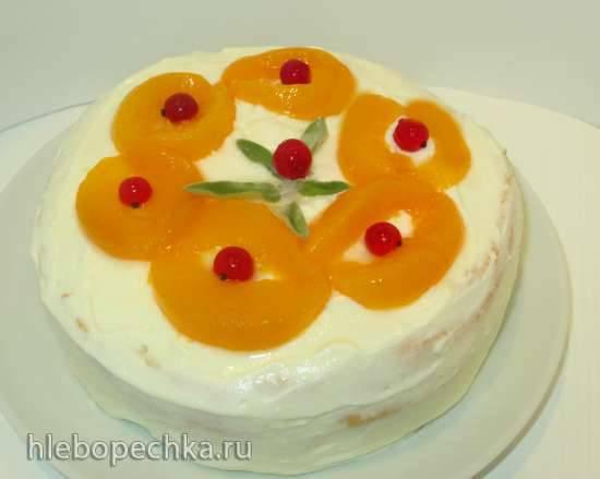 Торт «Белый Ангел»  с творожно-сметанным кремом и персиками на День всех Влюбленных