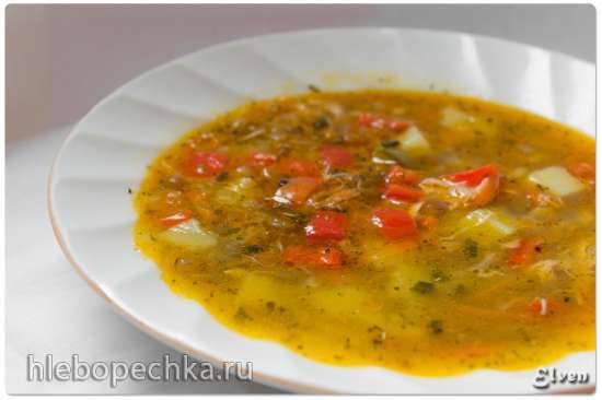 Суп куриный с зеленой чечевицей