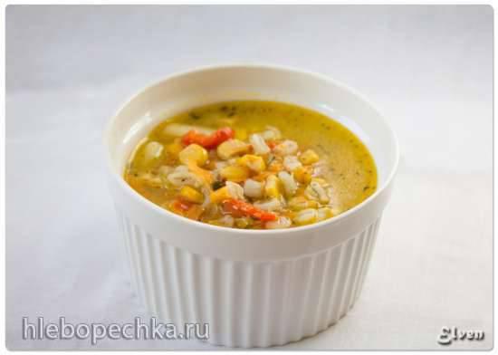 Суп перловый с кукурузой и сладким перцем