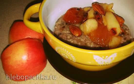 Овсяно-ржаная каша с отрубями, льном, карамельными фруктами и миндалем в мультиварке Redmond RMC-M 4502