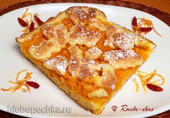Тыквенный пирог с цитрусовым ароматом на творожном тесте