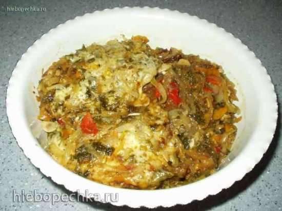 Мясо пикантное с овощами под сыром в мультиварке Panasonic SR-TMH 18