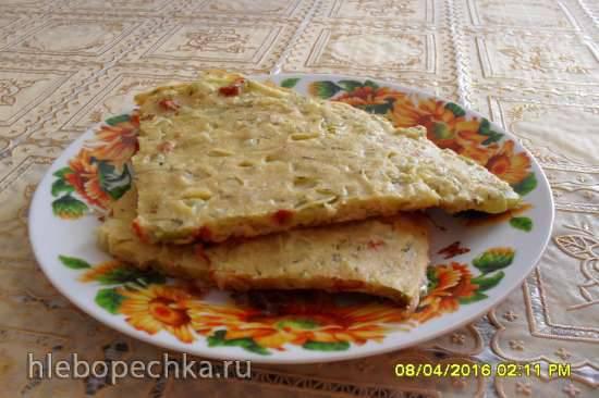 Нутовая запеканка (сокка) с овощами, без масла в пиццепечке Принцесс