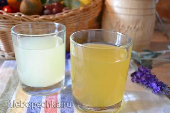 Напиток из сыворотки творожной, с минеральной водой и медом