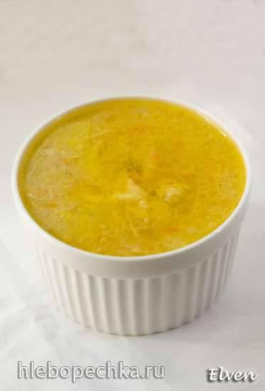 Суп куриный с тыквенными клецками