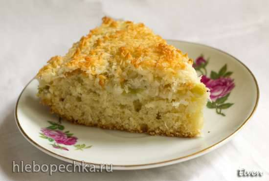 Ревеневый пирог с кокосовой глазурью