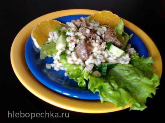Салат с мясом и перловкой