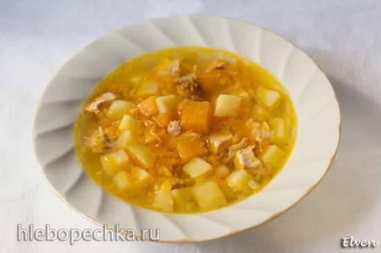 Гороховый суп с копченой курицей и тыквой