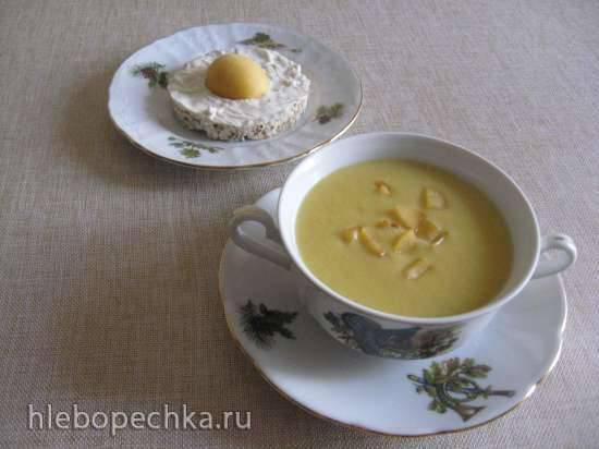 Десертный крем-суп Желтое настроение с бутербродом яичница (блендер-суповарка Kromax Endever Skyline BS-93)